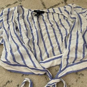 Forever21 blue and white striped tie up blouse
